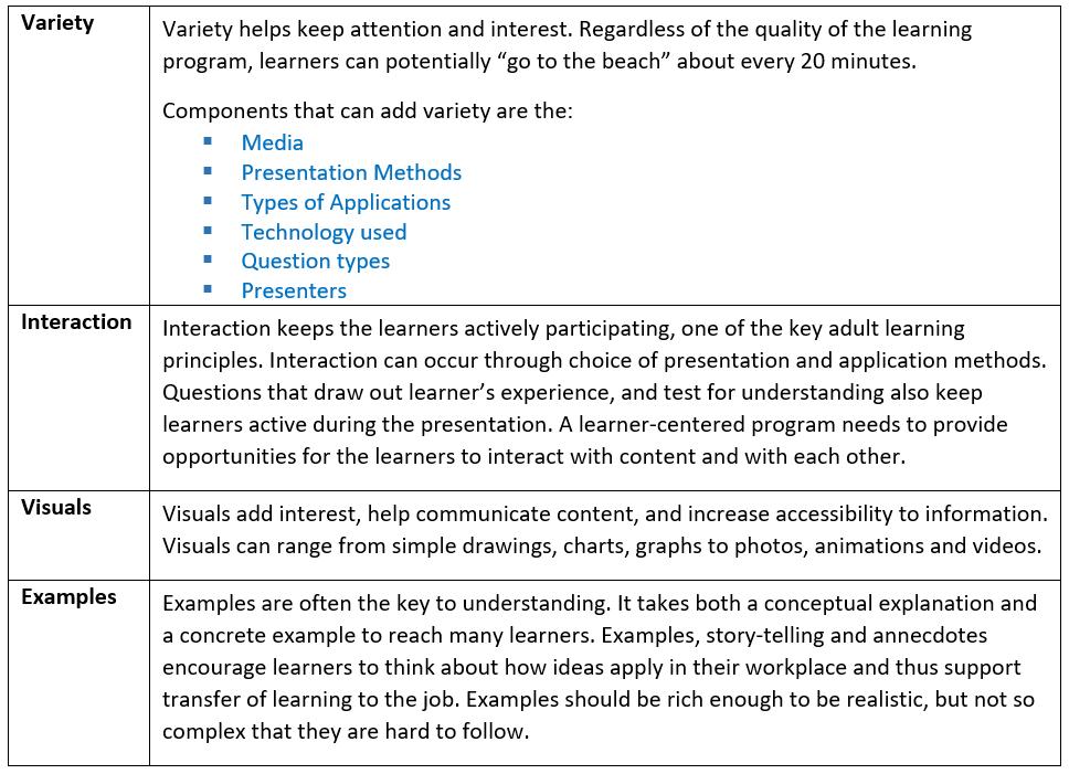 Principles for Learner-Centered Instruction
